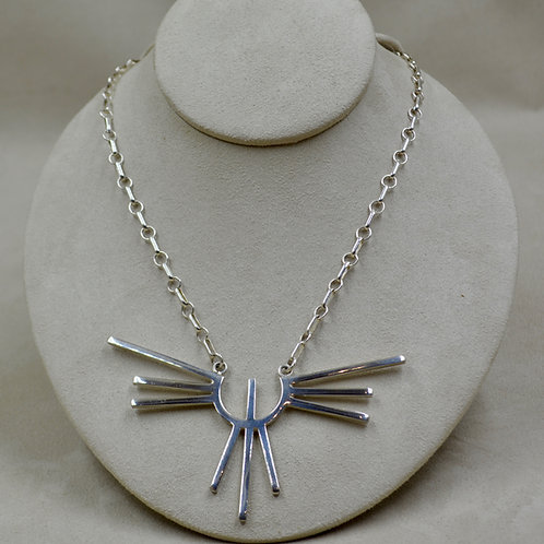 Silver Thunderbird Pendant w/ Attached Hand-forged SS Chain by Jacqueline Gala