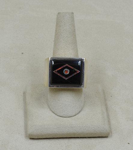 Black Jade, Red Lab Opal, & Sterling Silver 13x Ring by GL Miller Studio