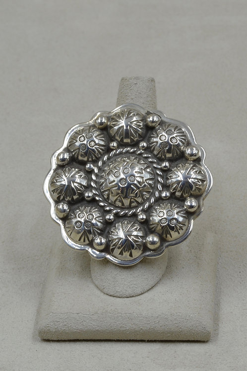 Large Sterling Silver Florette w/ Domed Conchoes 8x Ring by Melanie DeLuca