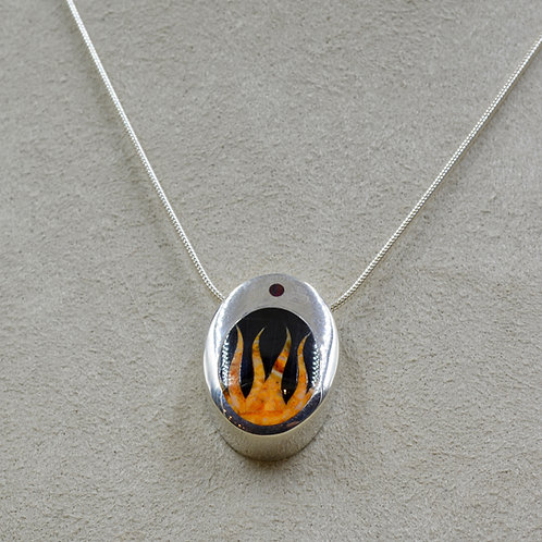 Flame Pendant w/ S. Silver w/ Black Jade, Opal, Spiny Oyster by GL Miller