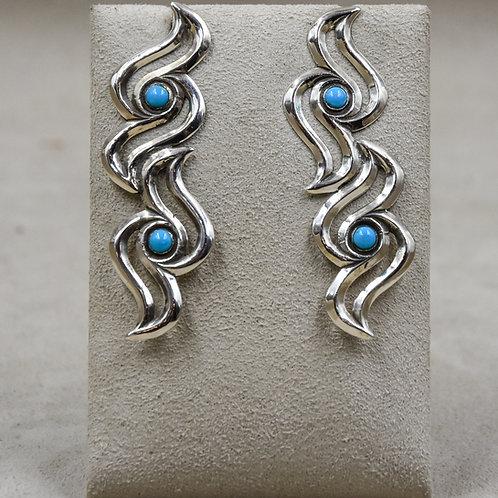 Double Raven Sleeping Beauty Turquoise Earrings by Gregory Segura