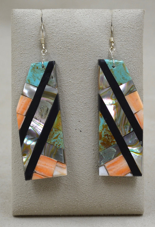 Large Long Inlay Mixed Stone Wire Earrings by Estefanita Ca'Win
