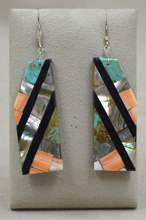 Large Long Inlay Mixed Stone Wire Earrings by Estefanita Ca'Win