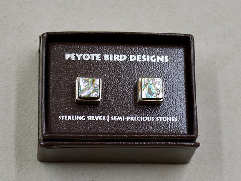 3-D Large Square Abalone Earrings by Peyote Bird Designs