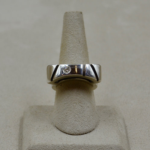 3mm Moissanite and Sterling Silver Oxidized Groove 7x Ring by Reba Engel