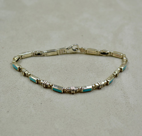 Sterling Silver Blue Turquoise Link Inlay Tennis Bracelet by Peyote Bird