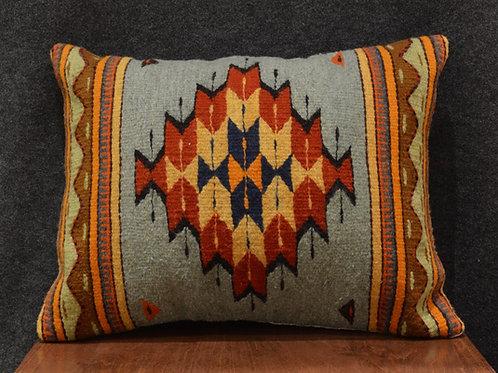 """Set of 2 Centered Geometric Green & Orange Zapotec Pillows - 15""""x20"""""""