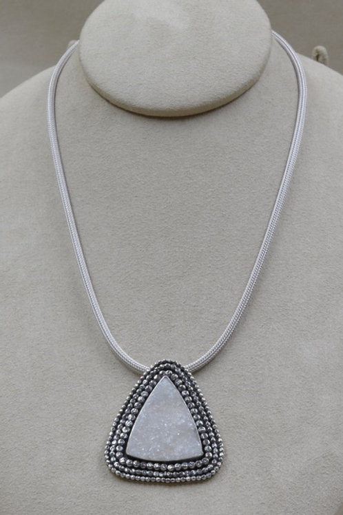 Sterling Silver Woven Chain w/ Handforged SS & Pendant by Michele McMillan