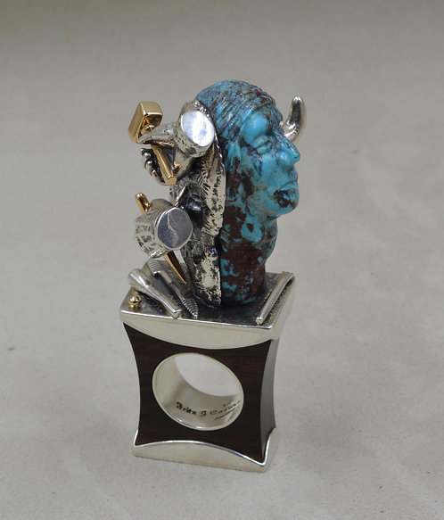 Ironwood, Nat. Bisbee Turquoise, 14k Gold, Buffalo Man 9x Ring by Fritz Casuse