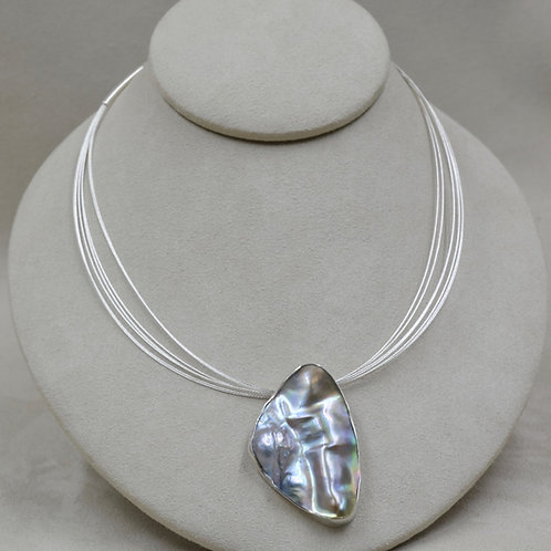 Large Mabe Pearl on Sterling Silver Multi-Chain Necklace by Michele McMillan