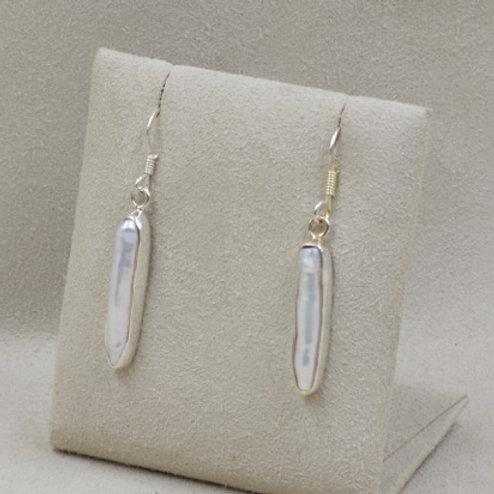 Freshwater Pearl Stick Earrings by Richard Lindsay