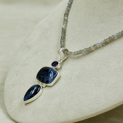 Pietersite, Iolite & Sterling Silver Pendant by Sanchi & Filia