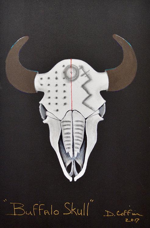 """Buffalo Skull Series #3"" - Acrylic on Canvas - 36"" x 24"" - by Doug Coffin"