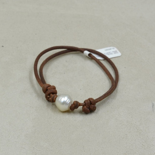 South Sea Single White Pearl Bracelet on Brown Leather by US Pearl Co.