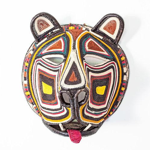 "Yellow Cheek Cat Emberá Mask by Betzaida Caizamo - 13""W x 11""H"