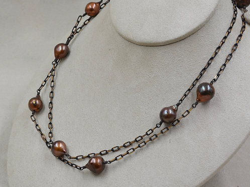 Cultured Freshwater Enhanced Pearls on Copper Chain by US Pearl Co.