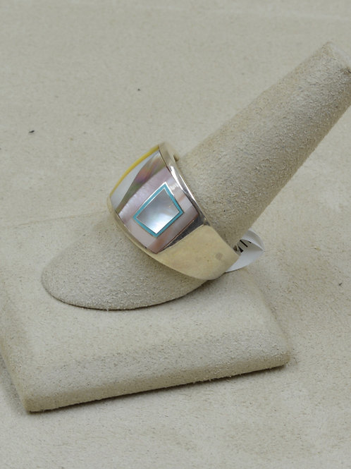 Gold Lipped Mother of Pearl, Turquoise, & S. Silver 10x Ring by GL Miller Studio
