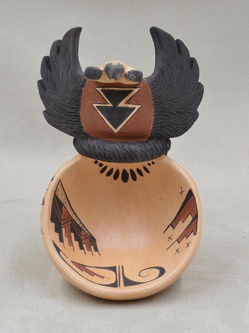 Crow Mother Bowl w/ Vegetal Paints & Kiln Fired by Valerie Namoki