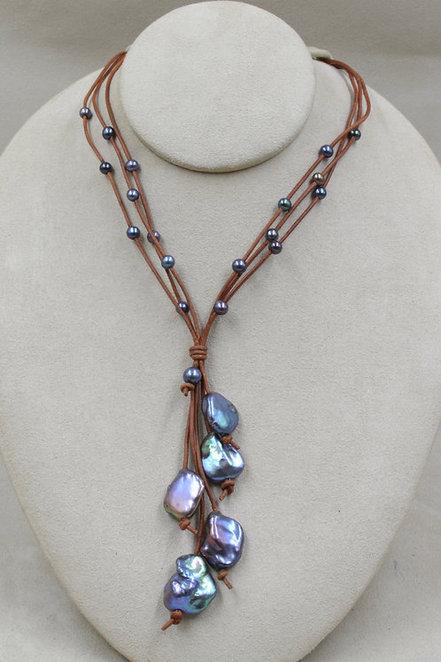 Cultured Freshwater Enhanced Pearls on Leather by US Pearl Co.