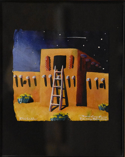 """Star Ladder"" Framed Acrylic on Handmade Paper by David Gary Suazo"