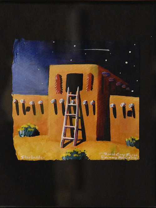 """Star Ladder"" Framed Acrylic on Handmade Paper by David Gary Suazo"