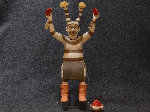 Koshare with Bowl - Clay - by Joe Cajero, Jemez Pueblo