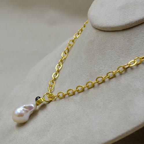 22k Gold, Baroque Pearl, & Tourmaline Pendant by Pamela Farland