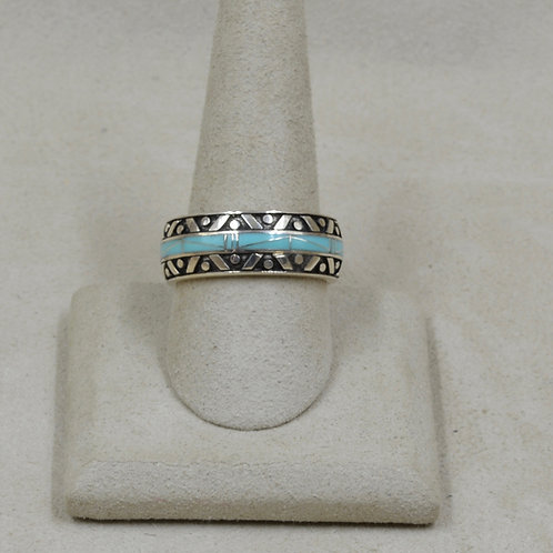 Campitos Turquoise & Sterling Silver 10x Ring by GL Miller Studio