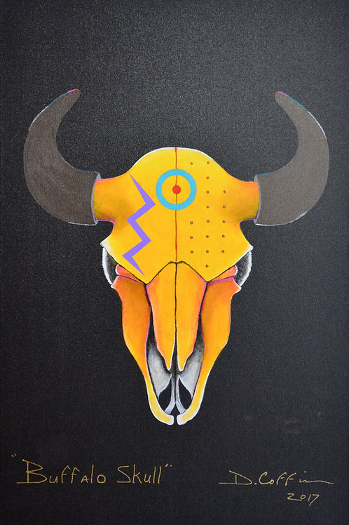 """Buffalo Skull Series #2"" - Acrylic on Canvas - 36"" x 24"" - by Doug Coffin"