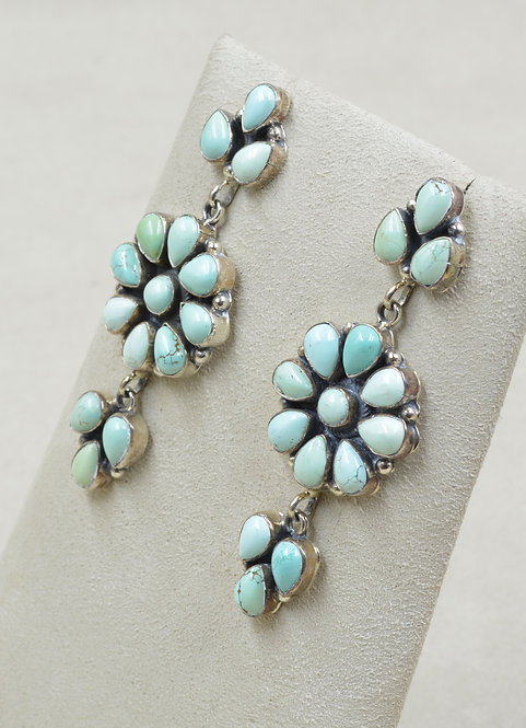 Sterling Silver & Natural #8 Turquoise 3-Tier Post Earrings by Emma Lincoln