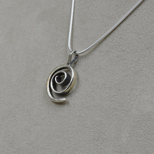 Sterling Silver Forged Spiral Pendant on SS Chain by Richard Lindsay