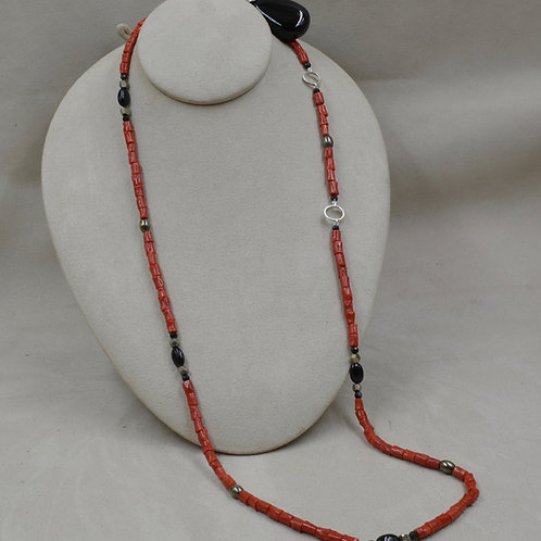 Coral, Obsidian, Pyrite, S. Silver & Onyx Ball Necklace by Reba Engel