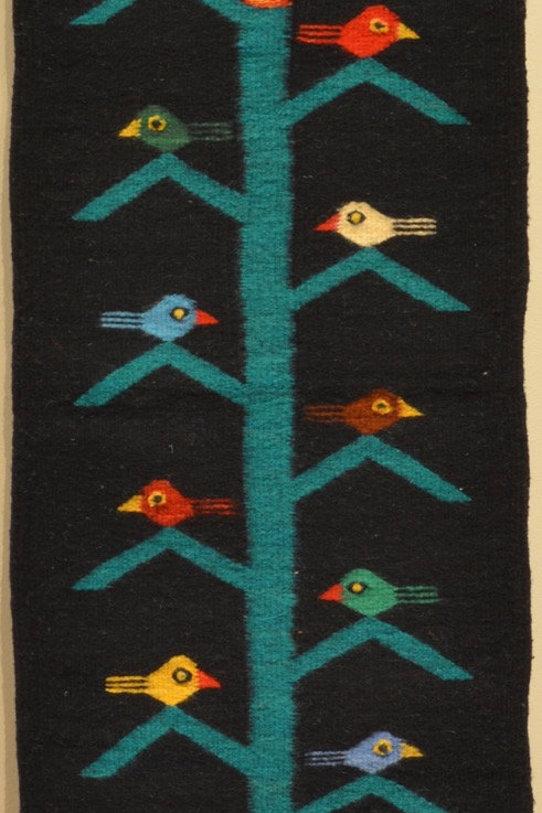 "Zapotec Table Runner - Tree of Life - Black - 15"" X 40"""