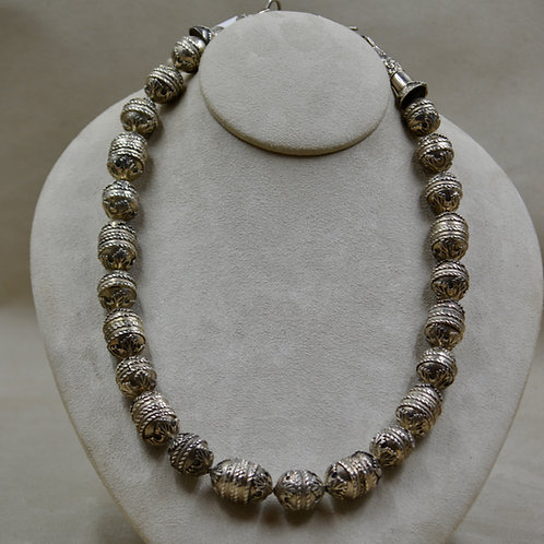 Entirely Handmade Sterling Silver Beaded Necklace by James R. Nicholson