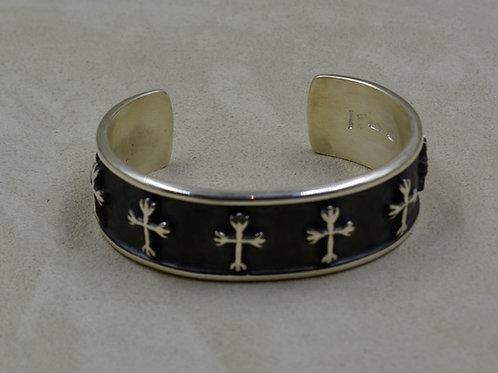 Men's Oxidized Sterling Silver Cuff w/ 8 SS Crosses