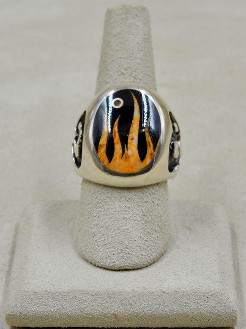 Flame 10.5x Ring w/ S. Silver w/ Black Jade, Spiny Oyster, Opal by GL Miller