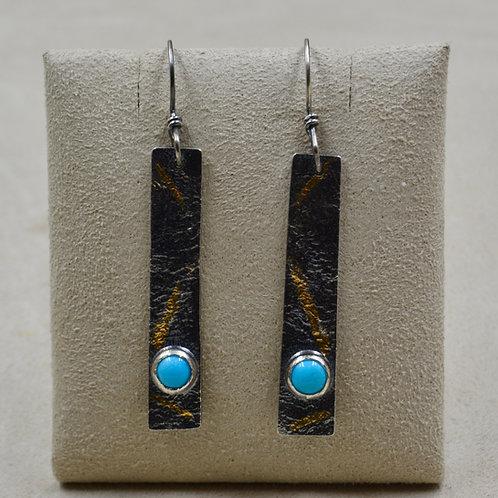 Keum Boo 24k Gold & Sleeping Beauty Turquoise Earrings by Cheryl Arviso