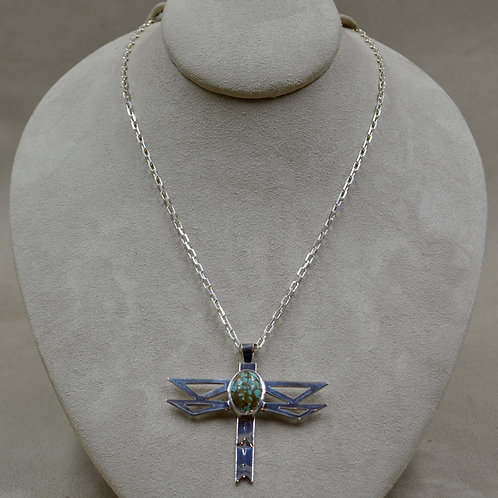9 Ct Hi-Grade #8 Turquoise, Dragonfly Pendant Necklace by John Paul Rangel