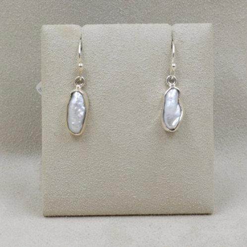 Sterling Silver Biwa Freshwater Pearl Earrings