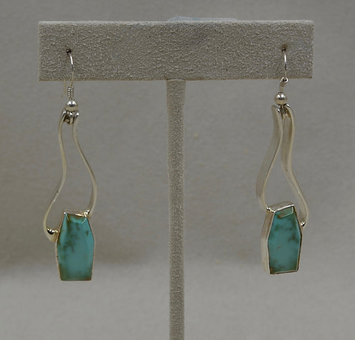 Sterling Silver Stirrup Earrings with Royston Turquoise by Tim Busch