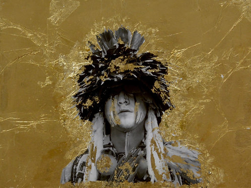 """What We Have Left"" Black & White Photo w/ Gold Leaf - 12"" x 16"" -by Robert Mesa"