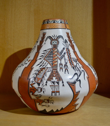 Large Yei Figures Pot by Lucy Lueppe McKelvey - Navajo