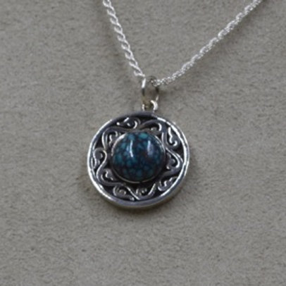 Small Sterling Silver & Turquoise Spirit Medallion on SS Chain by Lente