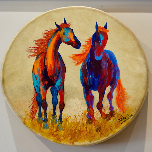 """'Horses on Drum' - Acrylic on Hyde - 14 1/2""""Dia - by John Saunders"""