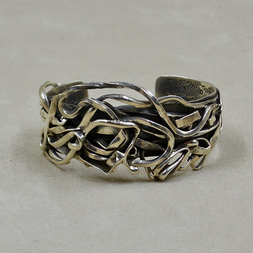 """Hand-forged Sterling Silver """"Maze District"""" Cuff by Robert Mac Eustace Jones"""