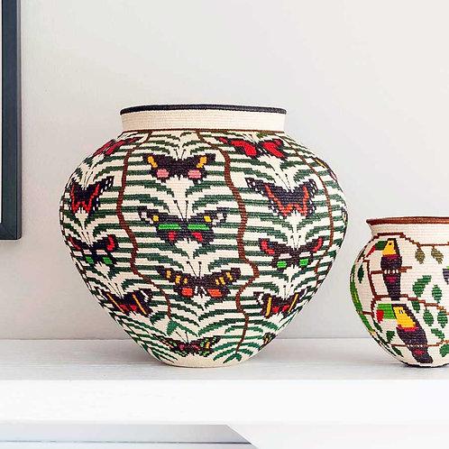 "Butterflies in Wavy Palms Wounaan Basket by Cristina Negria - 11""W x 10""H"