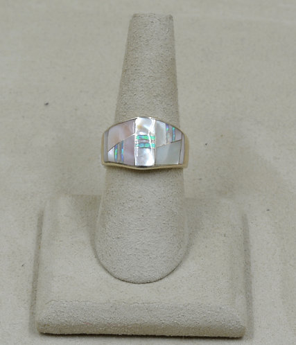 Pink Mother of Pearl, Lab Created Opal, S. Silver 7x Ring by GL Miller Studio