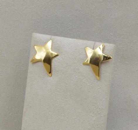 14k Vermeil Baby Star Earrings by Richard Lindsay