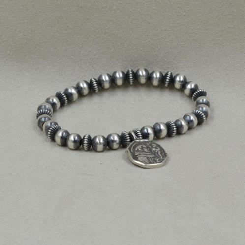 Saints Sterling Silver Stretch Bracelet by Shoofly 505