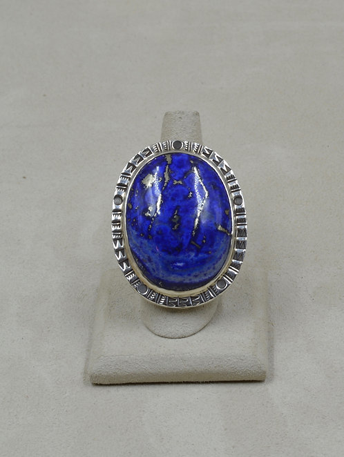 Large Afghani Lapis & Pyrite 8x Ring by Melanie DeLuca